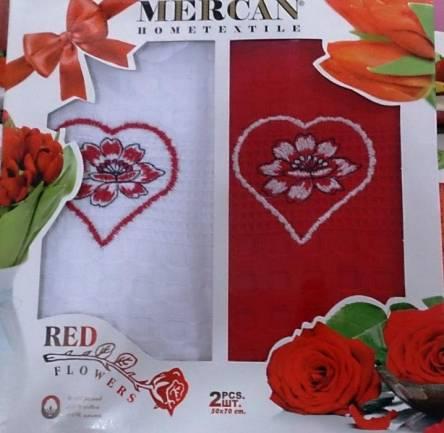 Фото  товара Набор вафельных кухонных полотенец Red Flowers